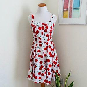 NWOT Rockabilly Cherry Print White Pinup Dress